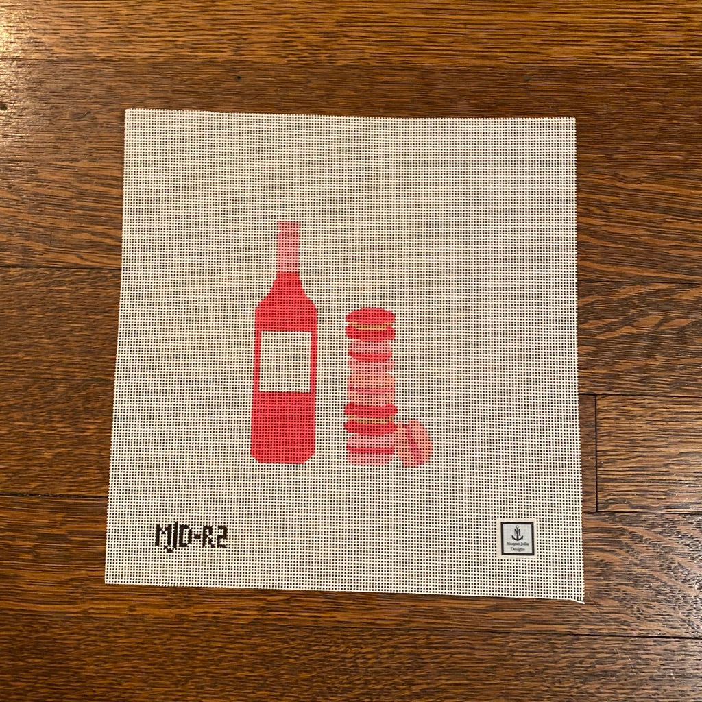 Rosé and Macarons Canvas-Needlepoint Canvas-KC Needlepoint
