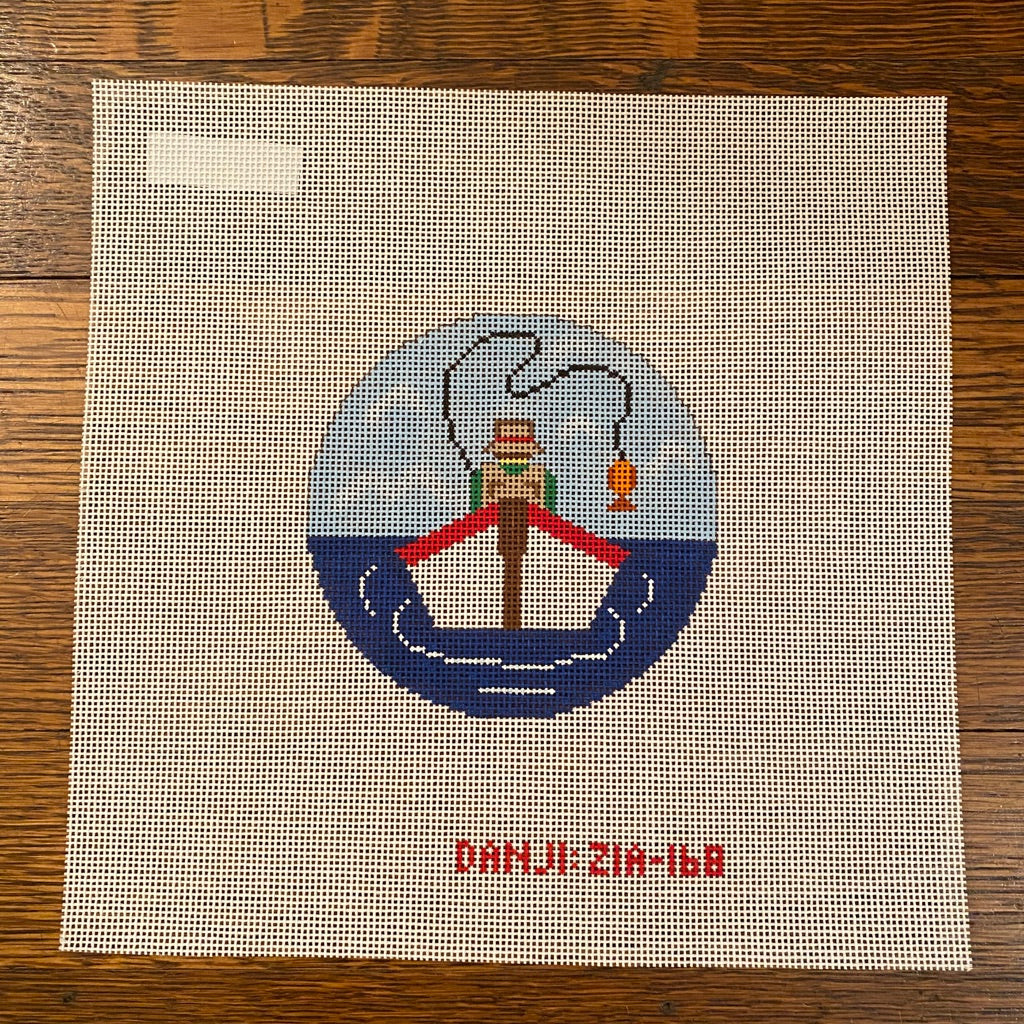 Fishing Boat Round Canvas - needlepoint