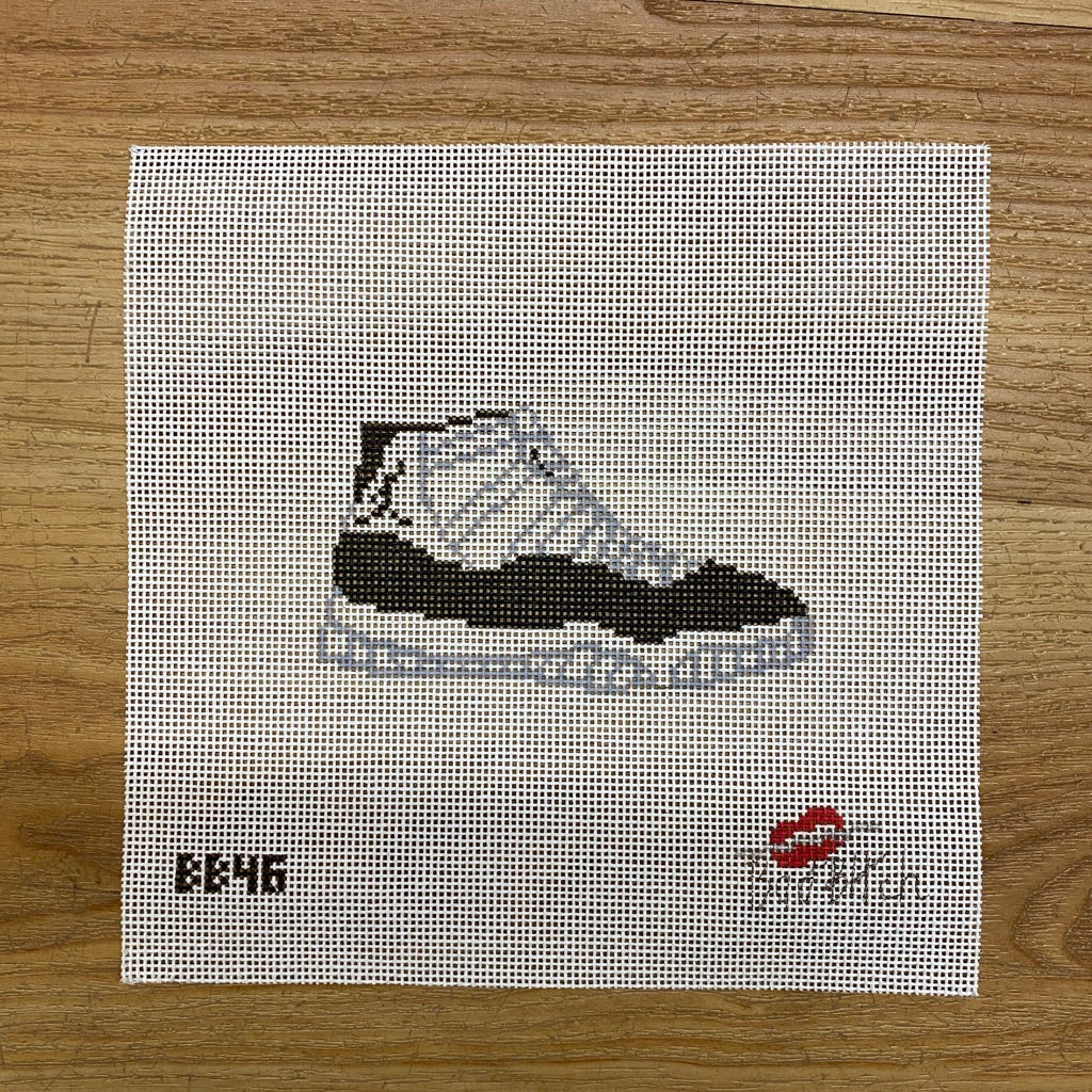 White and Black Sneaker Canvas - needlepoint