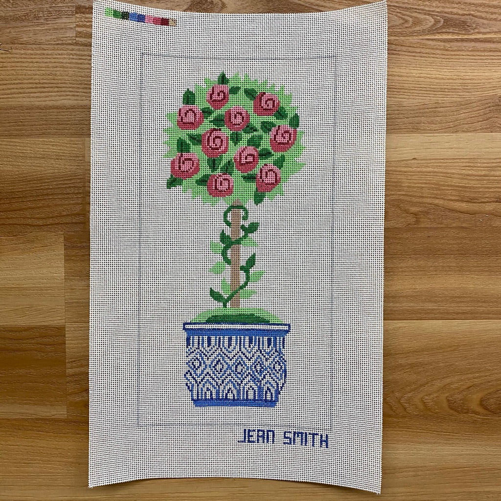 Small Rose Topiary Needlepoint Canvas