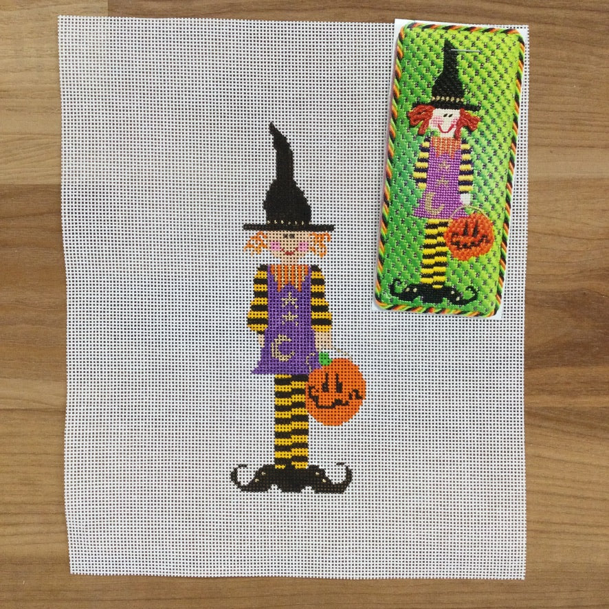 Trixie the Witch Canvas - KC Needlepoint