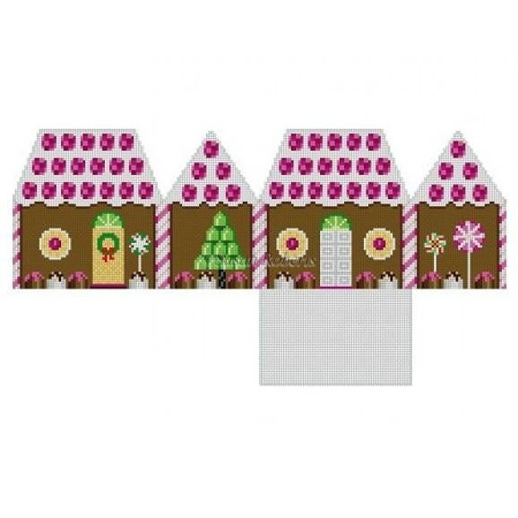 Raspberry & Chocolate Gingerbread House Canvas-Needlepoint Canvas-Susan Roberts-KC Needlepoint