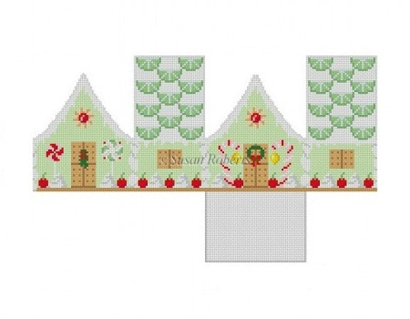 Key Lime and Cherries 3D Gingerbread House Canvas-Needlepoint Canvas-Susan Roberts-KC Needlepoint