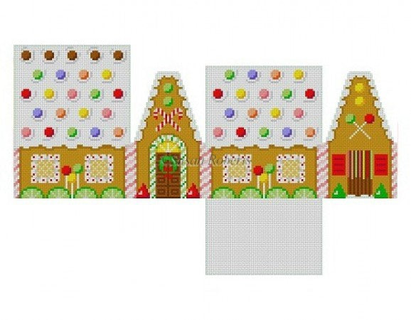 Skittles and Lime Slices 3D Gingerbread House Canvas-Needlepoint Canvas-Susan Roberts-KC Needlepoint