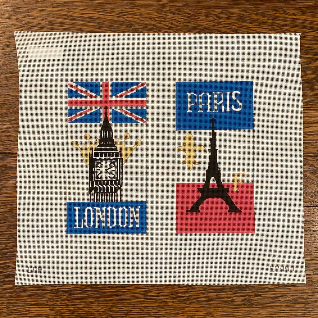 London Paris Eyeglass Case Canvas - needlepoint