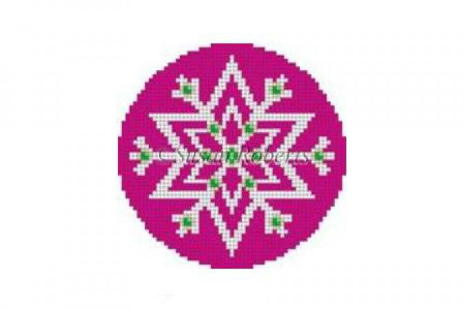 PInk Snowflake Canvas-Needlepoint Canvas-KC Needlepoint