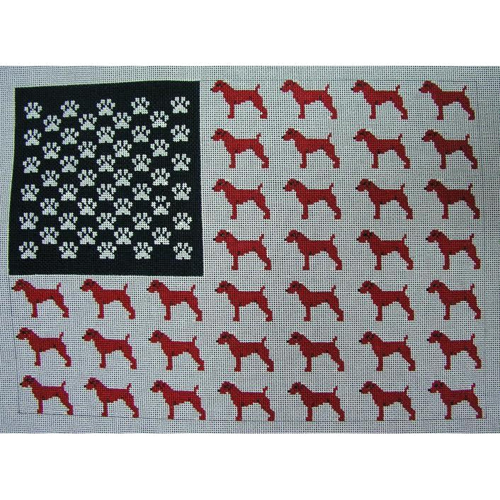 Dog American Flag Canvas-Needlepoint Canvas-The Collection-KC Needlepoint