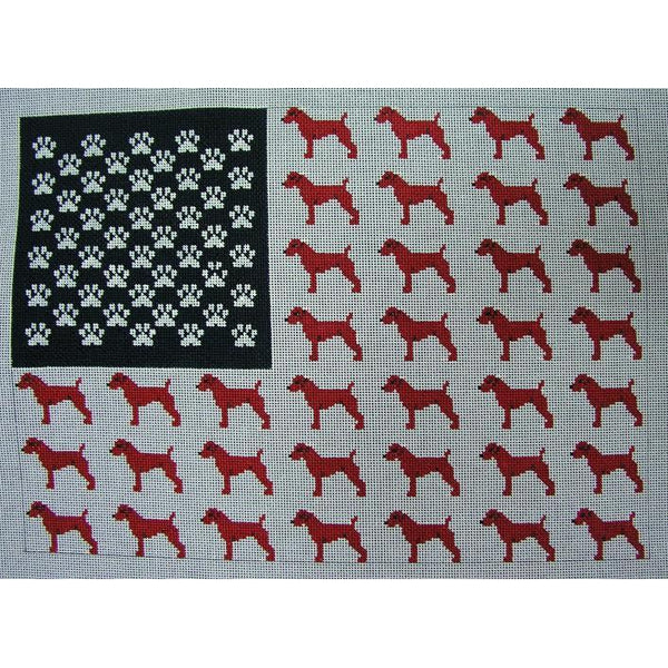 Dog American Flag Canvas