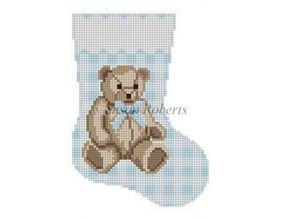 Gingham Teddy Blue Mini Sock Canvas - KC Needlepoint
