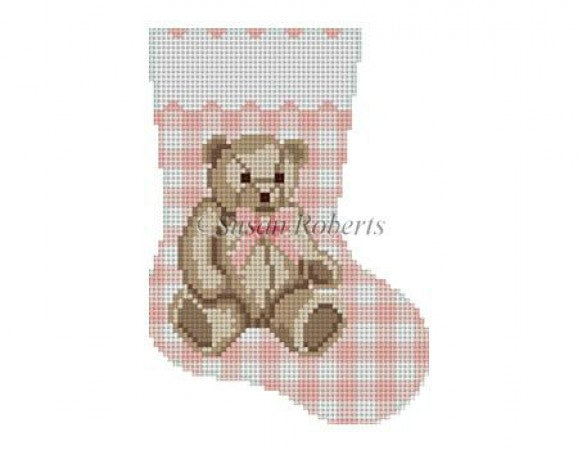 Gingham Teddy Pink Mini Sock Canvas - KC Needlepoint