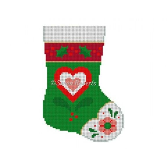Alpine Heart Mini Stocking Canvas-Susan Roberts-KC Needlepoint