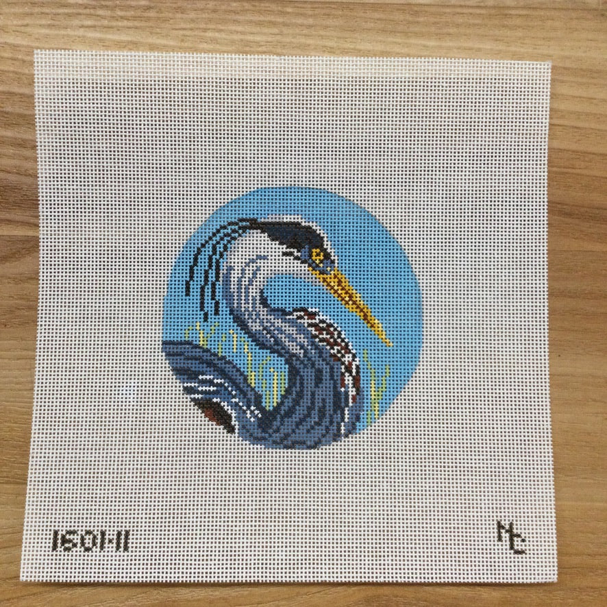 Blue Heron Round Canvas - needlepoint