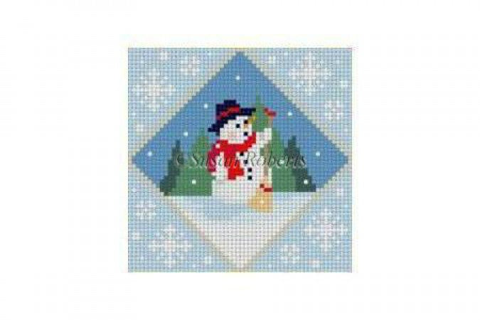 Frosty and Cardinal Ornament Canvas-Needlepoint Canvas-Susan Roberts-KC Needlepoint
