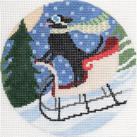 Dog on Sled Canvas - needlepoint