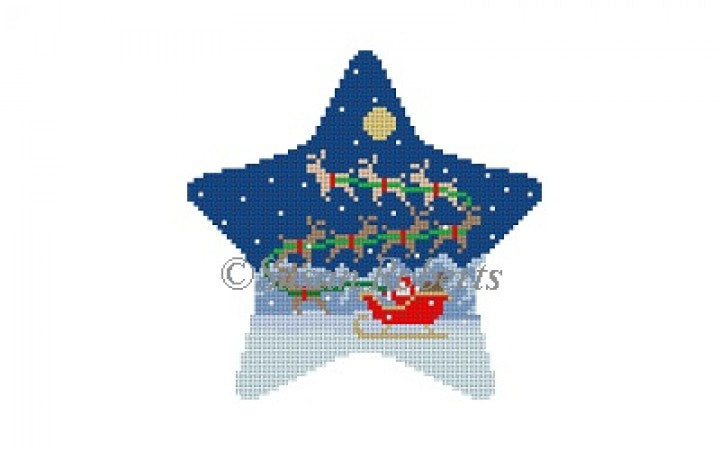 Sleigh and 8 Reindeer Star Canvas - KC Needlepoint
