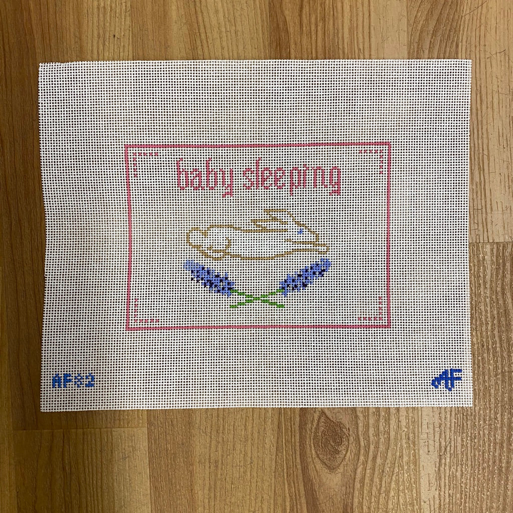 PInk Baby Sleeping Canvas - needlepoint