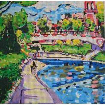 Plaza Canal Canvas-Needlepoint Canvas-Patti Mann-18 mesh-KC Needlepoint