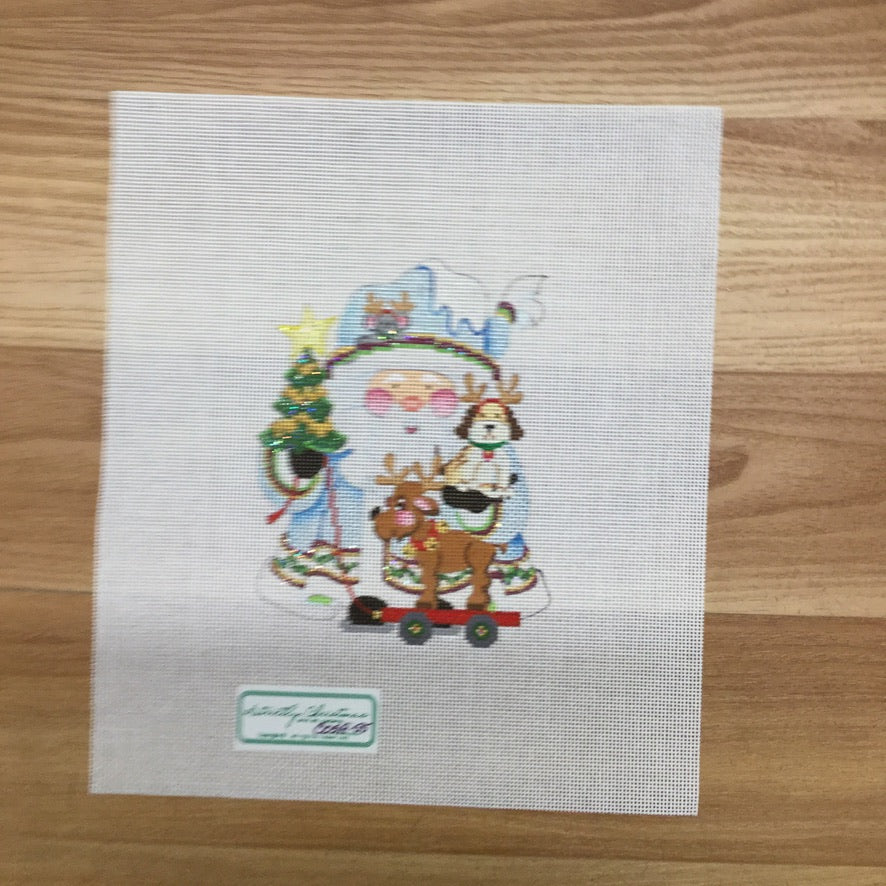 Dogs Squatty Santa Canvas-Needlepoint Canvas-Strictly Christmas-KC Needlepoint