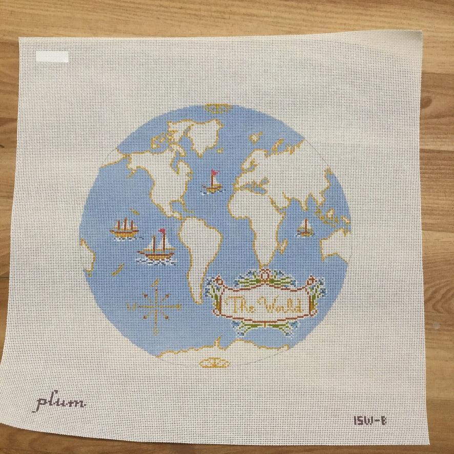 Atlas on Light Blue Needlepoint Canvas