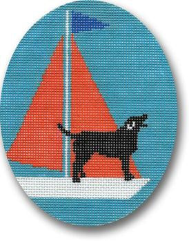 Dog on Sailboat Canvas-Needlepoint Canvas-CBK Needlepoint-KC Needlepoint