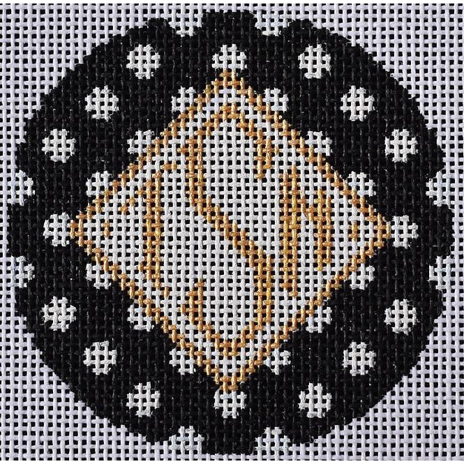 Polka Round Canvas-Needlepoint Canvas-Two Sisters Needlepoint-Black-KC Needlepoint