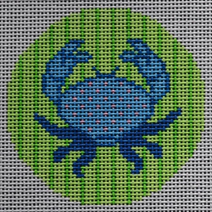 "Blue Crab 3"" Round - needlepoint"