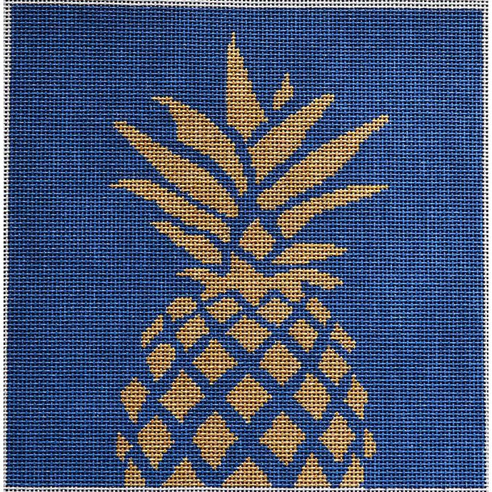 Pineapple on Navy Canvas - needlepoint
