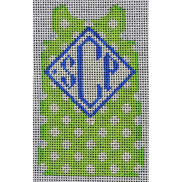 Polka Dot Mini Shift Canvas-Needlepoint Canvas-Two Sisters Needlepoint-Lime-KC Needlepoint