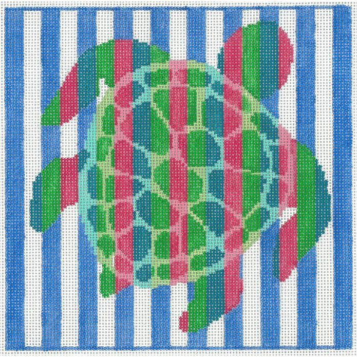 Turtle Stripes Canvas-Needlepoint Canvas-Two Sisters Needlepoint-KC Needlepoint