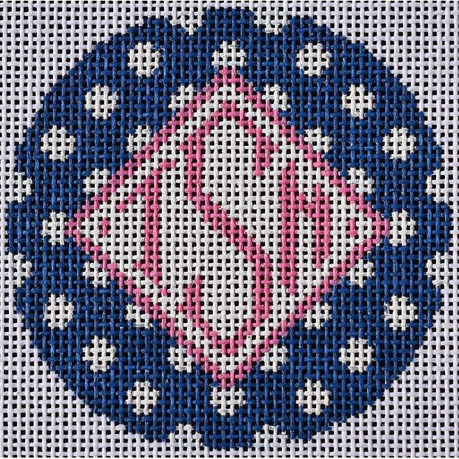Polka Round Canvas-Needlepoint Canvas-Two Sisters Needlepoint-Navy-KC Needlepoint