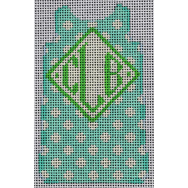 Polka Dot Mini Shift Canvas-Needlepoint Canvas-Two Sisters Needlepoint-Aqua-KC Needlepoint