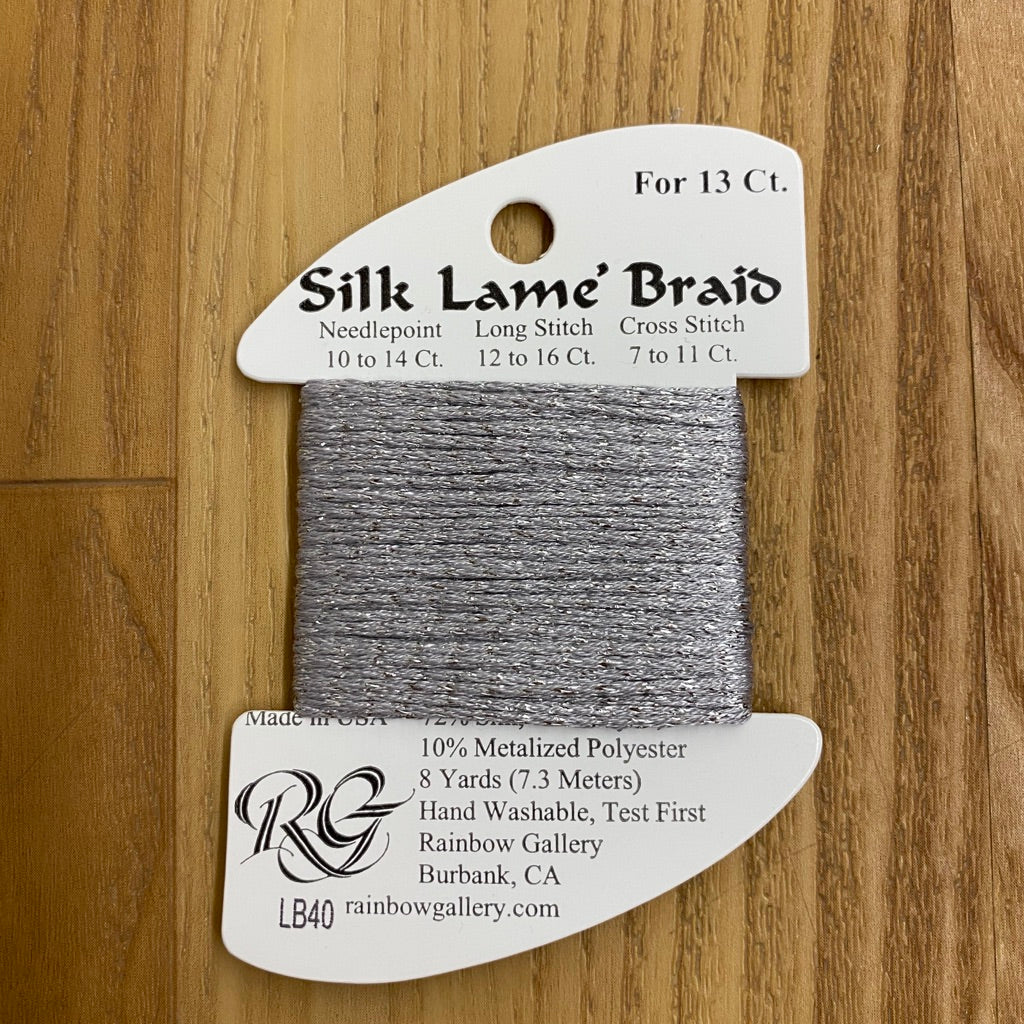 Silk Lamé Braid LB40 Dove Gray-Silk Lamé Braid-KC Needlepoint