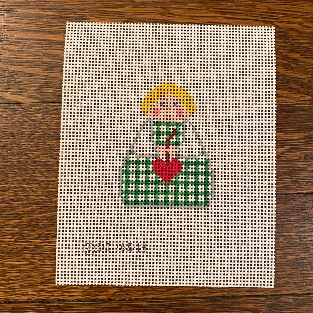 Green Plaid with Red Heart Angel Canvas-Needlepoint Canvas-KC Needlepoint