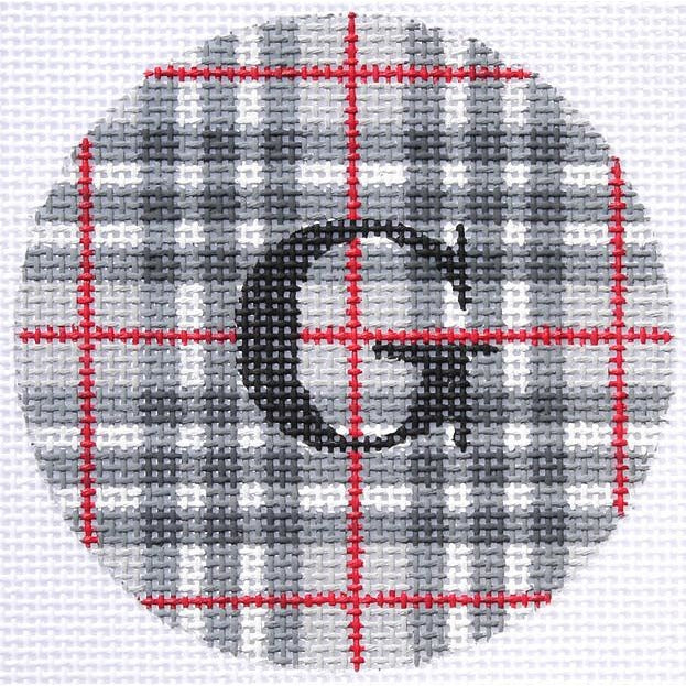 "Gentlemen's Plaid 3"" Round Canvas - needlepoint"