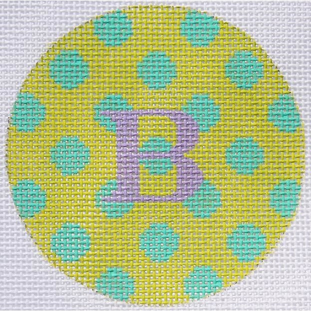 "Yellow w/ Green Dots 3"" Round Canvas - needlepoint"