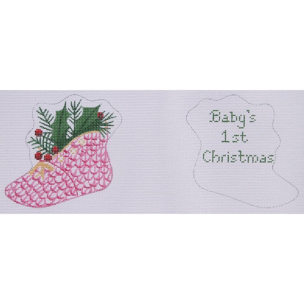 Herend Baby Shoe Needlepoint Canvas-Needlepoint Canvas-Kate Dickerson-18 mesh-Pink-KC Needlepoint