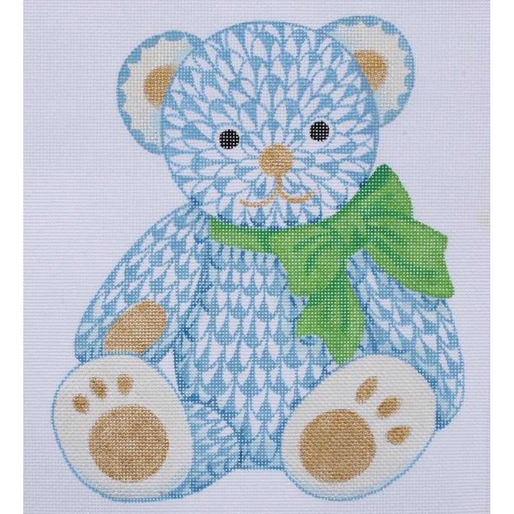 Herend Blue Bear Needlepoint Canvas-Kate Dickerson-KC Needlepoint