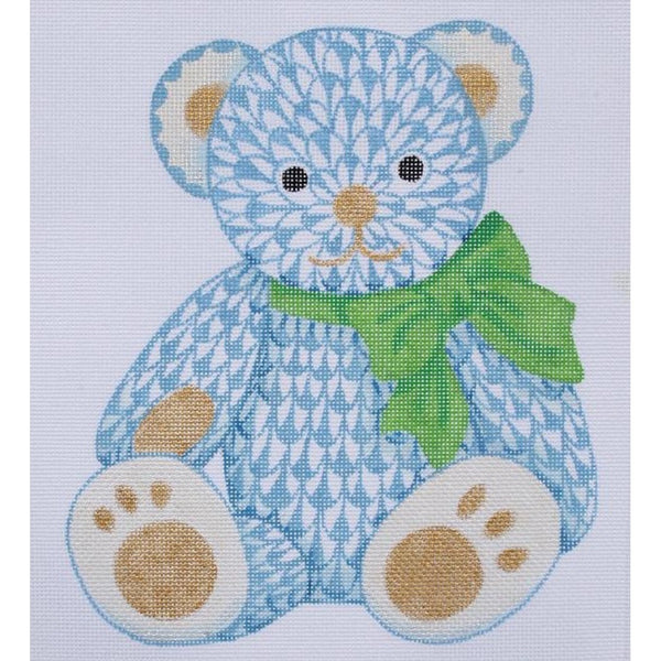 Herend Blue Bear Needlepoint Canvas