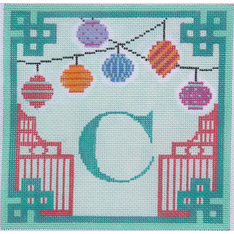 Chinese Paper Lanterns Needlepoint Canvas-Needlepoint Canvas-Kate Dickerson-18 mesh Blank letter-KC Needlepoint