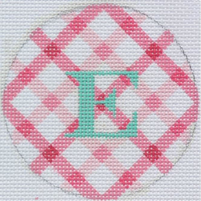 "Pink and White Diamonds 3"" Round Canvas - needlepoint"
