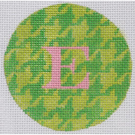 "Green Houndstooth 3"" Round Canvas - needlepoint"