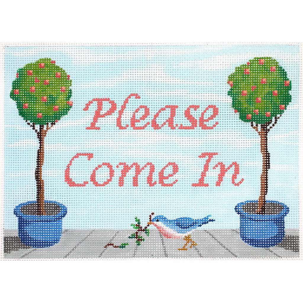 Please Come In Needlepoint Canvas-Needlepoint Canvas-Kate Dickerson-KC Needlepoint