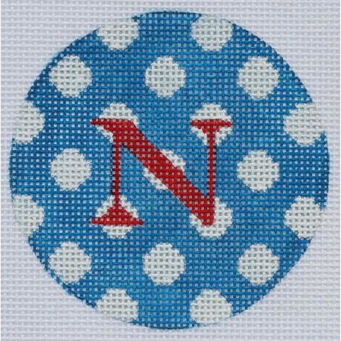 "Blue w/ White Dots 3"" Round Canvas - needlepoint"