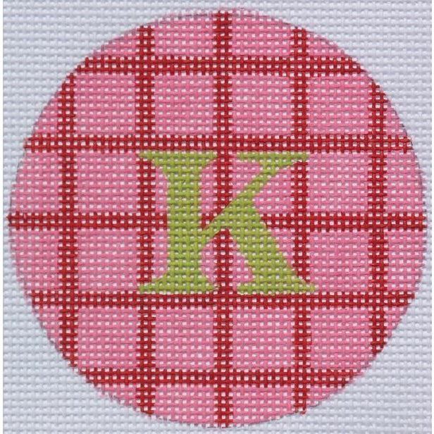 "Pink and Red Squares 3"" Round Canvas-Needlepoint Canvas-Kate Dickerson-18 mesh-blank-KC Needlepoint"