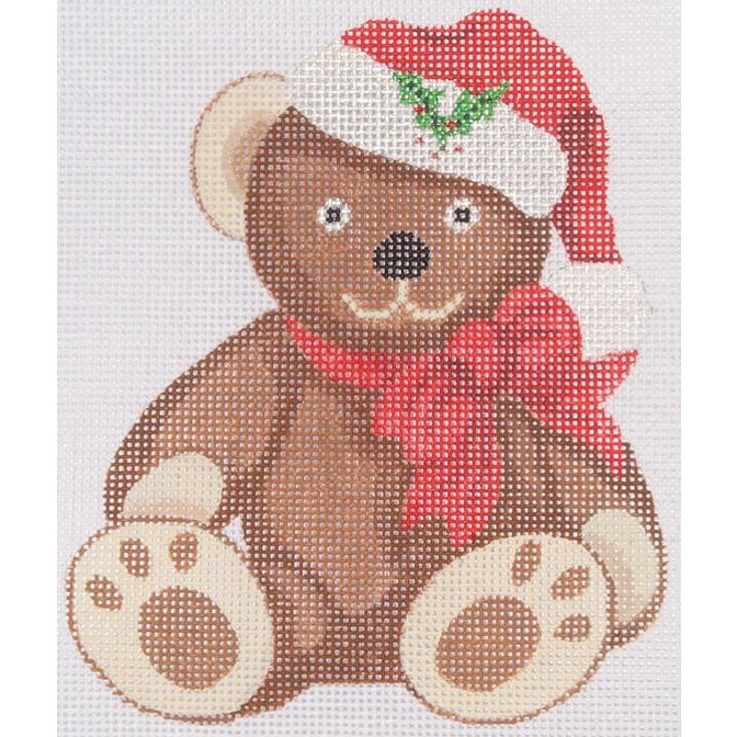 Teddy with Santa Hat Needlepoint Canvas - needlepoint