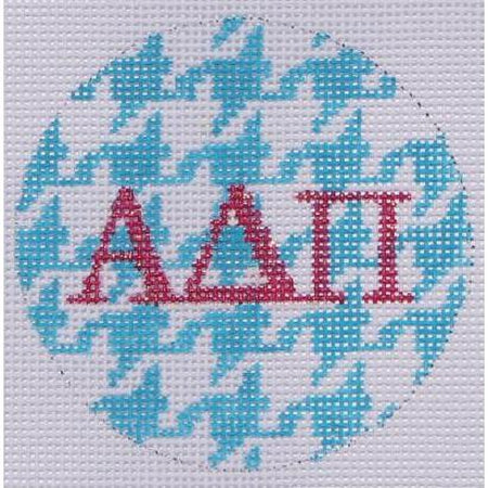 "Alpha Delta Pi Houndstooth 3"" Round Canvas-Needlepoint Canvas-Kate Dickerson-18 mesh-ADPi-KC Needlepoint"