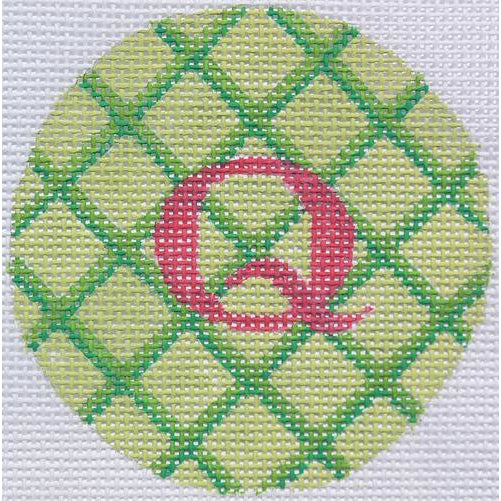 "Green Criss Cross 3"" Round Canvas-Needlepoint Canvas-Kate Dickerson-KC Needlepoint"