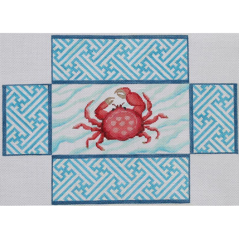 Crab and Chinoiserie Brick Cover Canvas - KC Needlepoint