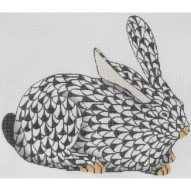 Herend Crouching Bunny Needlepoint Canvas - needlepoint