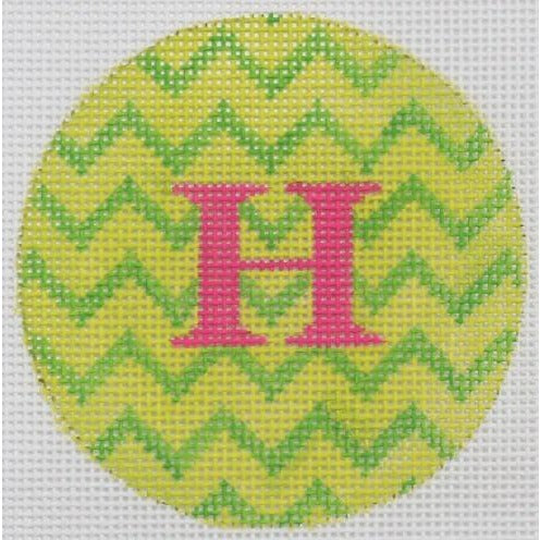 "Greens Zigzag 3"" Round Canvas-Needlepoint Canvas-Kate Dickerson-18 mesh-blank-KC Needlepoint"